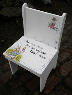 VINTAGE Handmade Handpainted Childs Chair in Beatrix Potter Style Peter Rabbit Home Decor Childs Bedroom, Kids Room, Nursery Playroom on Etsy, $244.00