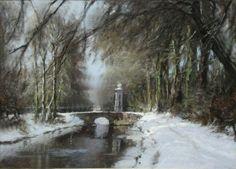 Louis Apol (1850-1936):  'Wintergezicht in het Haagse Bos