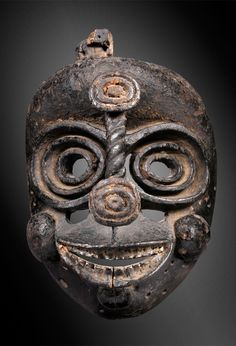 Africa | 'Idiok' mask from the Ibibio people of southeastern Nigeria | Wood and pigments | Used by members of the 'ekpo' society