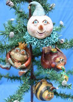 Snowman clown: OOAK Christmas Ornament
