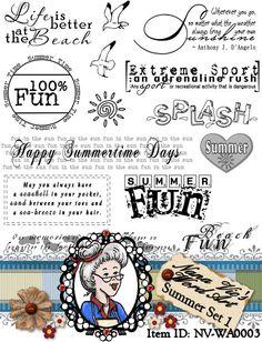 Summer Set 1 Word Art Sentiments Digital Stamp Digi Overlay Instant Download ID:NV-WA0003 By Nana Vic