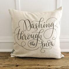 Dashing through the Snow Pillow Cover (Black)