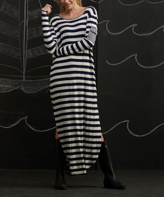 Look at this Ivory & Navy Stripe Maxi Dress on #zulily today!