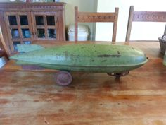 1930 Pressed Steel 25 inch Steelcraft Graf Zeppelin Pull Toy Military Green #steelcraft Bought $275 and sold for $485 total now $12,283 June 8th 2016