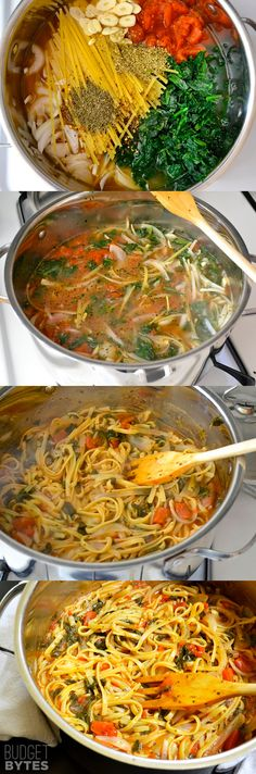 Ingredients 4 cups vegetable broth $0.52 2 Tbsp olive oil $0.32 12 oz. fettuccine $1.33 8 oz. frozen chopped spinach $0.79 1 (28 oz.) can diced tomatoes $1.73 1 medium onion $0.43 4 cloves garlic $0.32 Tbsp dried basil $0.07 Tbsp dried oregano $0.07 tsp red pepper flakes $0.02 freshly cracked pepper to taste $0.05 2 oz. feta cheese $0.87