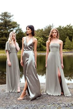 Sophisticated bridesmaid dresses with a modern twist? Jenny Yoo has got em! Her 2020 bridesmaid collection features youthful silhouettes with color, whimsy and luxe textures we cannot get enough of, so we just had to share them with the world! Pewter Bridesmaid Dresses, Blue Bridesmaids, Wedding Bridesmaids, Wedding Dresses, Spring Bridesmaid Dresses, Bridesmaids In Different Dresses, Bridesmaid Colours, Burgundy Bridesmaid, Beautiful Bridesmaid Dresses