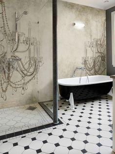 Viktoria  wall and deco salle de bain bathroom bath shower black white carrelage tiles blanc et noir