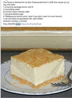 Canadian Needle Nana: Links, Woolworths Famous Cheesecake, Flowers at Last - New Ideas Köstliche Desserts, Delicious Desserts, Yummy Food, Cheesecake Recipes, Pie Recipes, Woolworth Cheesecake Recipe, Recipies, Sweet Recipes, Icebox Cake Recipes