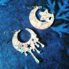 Handmade Jewellery Celestial Earrings Holographic Sparkly Moons Silver Holo Moon Dangle Resin Earrings