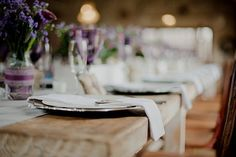Natural Rustic Wedding With Hints of Gorgeous Purple: Jaco & Tammy Jaco, Wedding Tables, Real Weddings, Rustic Wedding, Table Decorations, Purple, Natural, Purple Stuff, Nature
