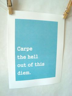 carpe diem!! I love love this, I have to admit a funny placed damn or hell always makes me smile. :)
