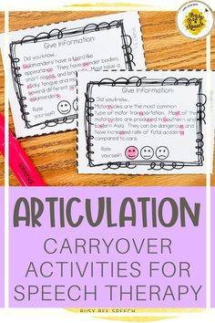 This product was designed to get kids up and practicing their sounds out of the speech room. They take the cards to the hallways or other classrooms to reinforce their good articulation skills. This packet includes 4 types of carry-over activity cards for each targeted sound.