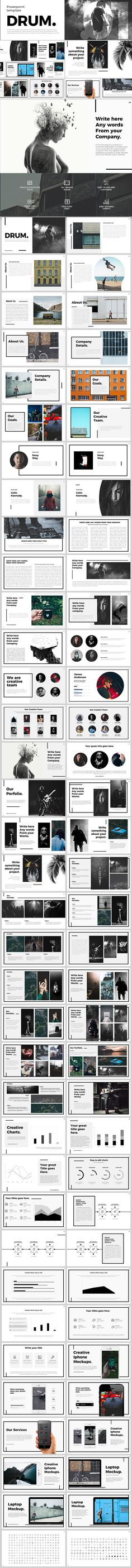 Drum Powerpoint Template - #PowerPoint Templates #Presentation Templates