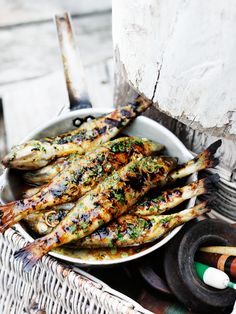 Ginger and coriander marinated fish