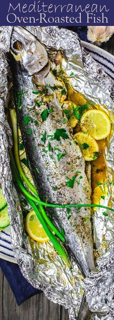 Mediterranean Oven Baked Spanish Mackerel Recipe   The Mediterranean Dish. Easy Greek inspired fish recipe. Whole fish stuffed with garlic, herbs, and lemon slices and oven baked in a foil packet with olive oil. A delicious Mediterranean diet recipe. See it on TheMediterraneanDish.com
