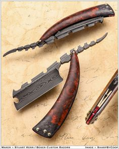 Limited Edition 🔥 Damascus Steel Blade with Wooden Handle. Inbox us for wholesale price 📩 We offer worldwide Shipping. Feel Free to Contact us. Cool Knives, Knives And Swords, Custom Straight Razors, Knife Shapes, Blacksmithing Knives, Straight Razor Shaving, Armas Ninja, Diy Knife, Weapon Concept Art