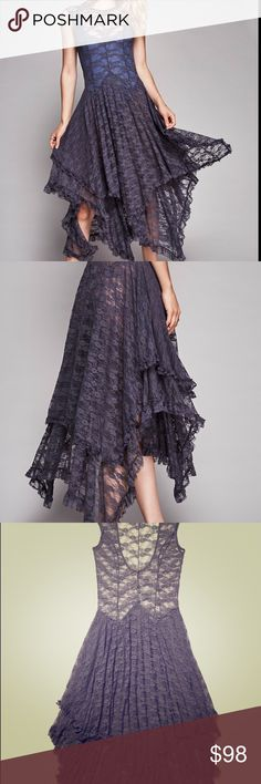 """Free People French Courtship Slip Dress deep plum Intimately Free People One of the best slips they make .. layers of lace .almost deep plum it's """"storm grey"""" XS Free People Dresses"""