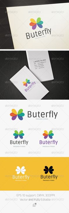 Butterfly Logo  #GraphicRiver        Butterfly – Logo Template  This logo design for all creative business.Excellent logo,simple and unique concept.  Logo Template Features   EPS (Illustrator 10 EPS ) 300PPI  CMYK   100% Scalable Vector Files  Easy to edit color / text  Ready to print  Free font used  Ruda Overlock     If you buy and like this logo, please remember to rate it. Thanks!     Created: 26October12 GraphicsFilesIncluded: VectorEPS Layered: No MinimumAdobeCSVersion: CS…