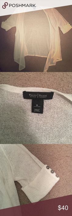White House Black Market cardigan great condition white cardigan - White House black market - willing to negotiate price! White House Black Market Sweaters Cardigans