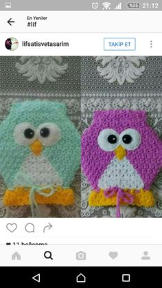 This Pin was discovered by Ker Crochet Baby Poncho, Baby Knitting, Knit Crochet, Crochet Hats, Crochet Potholder Patterns, Crochet Stitches, Crochet Ornaments, Melting Beads, Owl