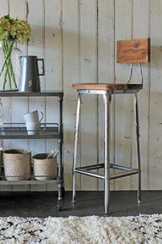Metal Bar Stool with wooden seat combine materials and textures to create a modern and attractive seating solution - Rockett St George Industrial Bar Stools, Metal Bar Stools, Industrial Pipe, Modern Industrial, Nook Table, Home Bar Furniture, Stools With Backs, Bar Seating, Kitchen Stools