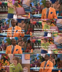 "But remember when Mr. Moseby called Mr. Tipton and said ""It's my last day. What's he going to do, fire me?"" And then he and Zack fist bumped."