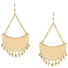 Lauren Ralph Lauren Bali Beaded Hammered Crescent Chandelier Earrings (160 PEN) ❤ liked on Polyvore featuring jewelry, earrings, hammered earrings, bead jewellery, chandelier jewelry, beaded jewelry and earrings jewelry