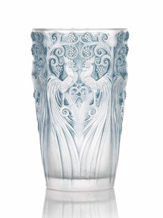 COQS ET RAISINS VASE, NO. 1034 designed 1928, clear, frosted and blue stained stencilled R. LALIQUE FRANCE
