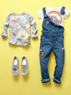 Girls' fashion   Kids' cltohes   Emoji sweatshirt   Emoji patch overalls   Graphic tee   Emoji sneakers   The Children's Place