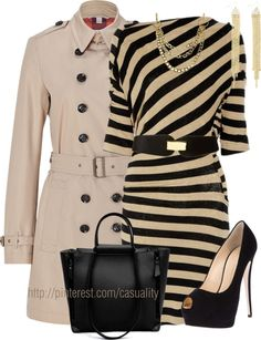 """Love Love Love IT .... """"Striped Dress & Neutral Trench Coat"""" by casuality on Polyvore"""