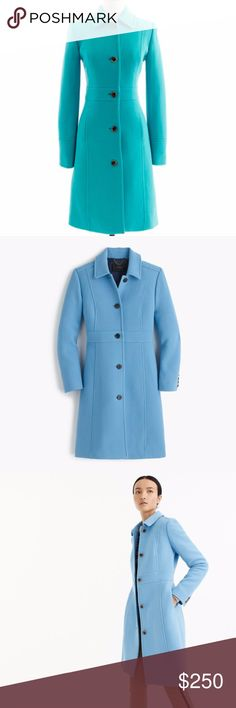 J. Crew Double Cloth Lady Day Coat With Thinsulate Gorgeous long wool fully lined pea coat from J. Crew. Color is CORNFLOWER BLUE as seen in additional photos, not teal like in the cover shot. Worn one season, too big for me now. No flaws. Retail is $365. Stunning winter coat. Do not let this baby get away. Perfect for staying warm, dry and fashionable all season. Feel free to make an offer! J. Crew Jackets & Coats Pea Coats