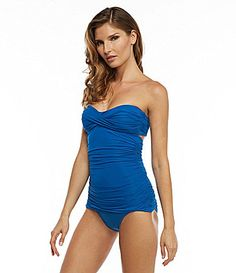 d470e96365f9d Carmen Marc Valvo Mediterranean Solids Bandini Top and Shirred Banded  Bottom #Dillards Bandeau Tankini,
