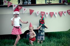 The kids partying at the christmas shoot