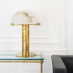 KELLY WEARSTLER | MELANGE TABLE LAMP. Alabaster stone coupled with luxe metals.  Available in Antique-Burnished Brass, and Bronze with Alabaster.