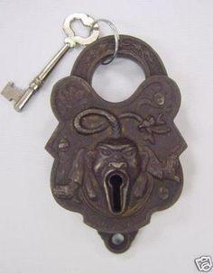 "treasures-and-beauty: "" Antique Rare John Chinaman Padlock Key Trenton """