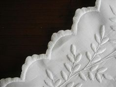 Whitework Hand Embroidery Linen Tablecloth Monogram A.W.J. c1910 from mercymaude on Ruby Lane