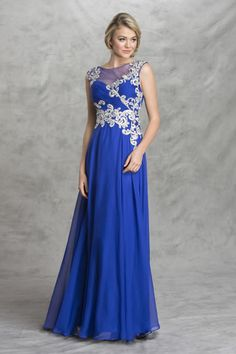 Long Prom Gown APL1452 Full Length A-Line Prom Gown has Illusion Jewel Neckline and Illusion Back with Zipper Closure, Patterned Embroider and Jewel Embellished featuring Ruched Bust, Lined Solid Color Skirt. https://www.smcfashion.com/wholesale-prom-dresses/long-prom-gown-apl1452