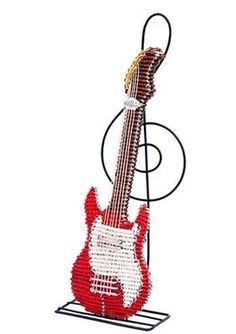 Electric Guitar Sculpture Treble Clef Stand Beaded Wire Hand Crafted Beadworx