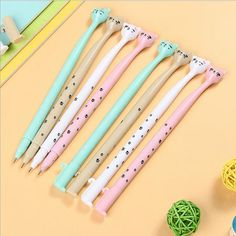 4 pcs/lot cute cartoon cat gel pen kawaii stationery pens canetas material escolar office school supplies  #Affiliate