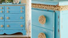 Refresh an upcycled dresser by attaching rope to drawer pulls. -- Lowe's Creative Ideas