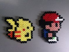 2D Ash and Pikachu *Pokemon* (Perles Hama / Perler Beads)