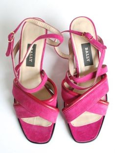 0cd1ab7d1b9 UK 5 (Narrow) Bally Vintage Sandal Shoes - Pink Suede Leather - 1990s - 38
