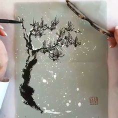 Pine Tree Painting, Sumi E Painting, Chinese Painting, Chinese Art, Watercolor Books, Easy Canvas Art, Art Painting Gallery, Cool Paintings, Art Plastique
