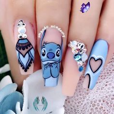 Leaving Facebook Lilo and Stitch Fashion Nails Alien Nails | Decorative Nails | Fashion Nails | Long Nails | Fake Nails | Manicure<br> Disney Acrylic Nails, Clear Acrylic Nails, Summer Acrylic Nails, Disney Nails, Spring Nails, Pastel Nails, Summer Nails, Halloween Nail Designs, Cute Nail Designs