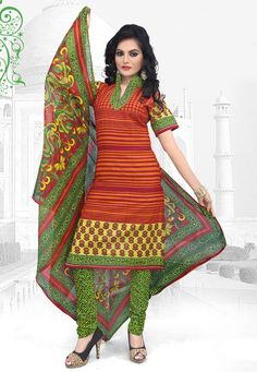 Add an extra dose of #style and glamor to your ethnic wear with this Orange-Green Color Cotton Designer #SalwarKameez which is accompanied with a matching dupatta and bottom. The suit features floral and stripe print.