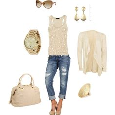 Cream Cardigan Ensemble