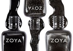 Zoya Nail Polish in Raven, Storm and Claudine! Rate It: 1 - I dont like it, I would NEVER do it! 10 - I just love it, I would TOTALLY do it! Tell us WHY you commented with your number! off on services and gift cards for the month of December! Vegan Nail Polish, Black Nail Polish, Zoya Nail Polish, Black Nails, Love Nails, Fun Nails, Pretty Nails, Mani Pedi, Manicure And Pedicure