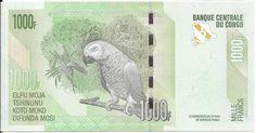 CONGO - CÉDULA DE 1000 FRANCS - TEMA FAUNA PAPAGAIO DO CONGO - PEÇA EM ESTADO DE CONSERVAÇÃO FLOR DE