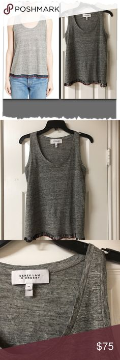 """Derek Lam 10 Crosby Grey Beaded Fringe Linen Tank Derek Lam 10 Crosby Grey Beaded Fringe Linen Tank. Great condition! All beads intact. Twisted threads strung with cherry-red beads dance along the hem of this breezy linen tank, adding a bit of fiesta-ready charm to the otherwise basic style. - 23"""" length; 1"""" fringe. Bust 36"""". Scooped neck - 100% linen - Dry clean - 10 Crosby Derek Lam Tops Tank Tops"""