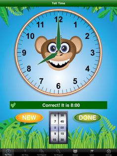 Jungle Time - great app to teach how to tell time.